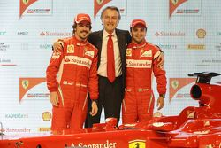 Fernando Alonso, Luca di Montezemolo, Felipe Massa en la presentación del Ferrari F150