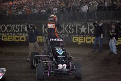 Kevin Swindell celebrates winning the Lucas Oil 25th Chili Bowl