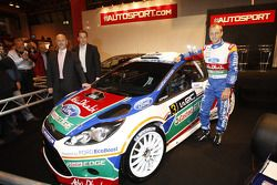 Gerard Quinn, Donald Smith en Mikko Hirvonen , voorstelling Ford Fiesta RS WRC, Autosport Internatio