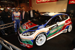 Mikko Hirvonen, Gerard Quinn and Donald Smith at the official unveilling of the all new Ford Fiesta RS WRC
