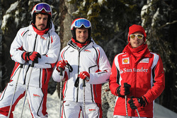Fernando Alonso, Scuderia Ferrari, Giancarlo Fisichella y Jules Bianchi piloto de pruebas Scuderia F