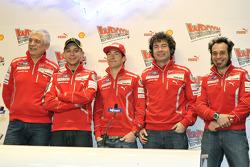 Gabriele Del Torchio, Ducati president, Valentino Rossi, Ducati, Nicky Hayden, Ducati, Vittoriano Guareschi, test rider Ducati