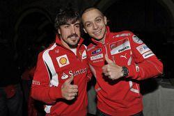 Fernando Alonso (Ferrari) et Valentino Rossi (Ducati)