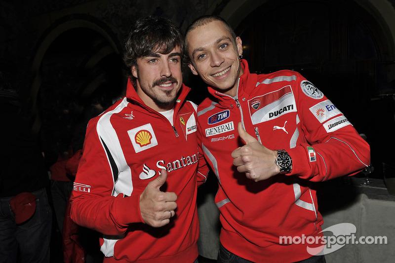 Fernando Alonso, Scuderia Ferrari; Valentino Rossi, Ducati