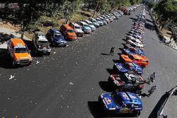 Cars wait for the start