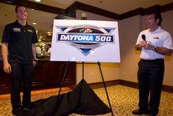 Champion's breakfast: 2011 Daytona 500 winner Trevor Bayne, Wood Brothers Racing Ford and DIS president Joie Chitwood present the 2012 Daytona 500 poster