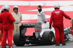Michael Schumacher, Mercedes GP Petronas F1 Team stopped on track