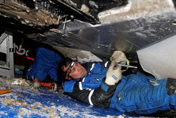 M-Sport technicians work on the new Ford Fiesta RS WRC