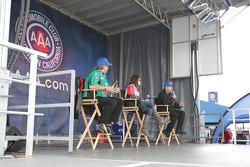 John Force (left) Ashley Force Hood (center) Robert Hight (right) during Auto Club fan meeting
