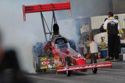 Ron August burnout in de Hartley Racing Top Fuel Dragster