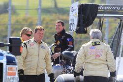 Terry Sainty from Sydney, Australia and varios members of the NHRA Safety Safari surrounding his Rapisarda Top Fuel Dragster