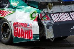 Damage on the car of Dale Earnhardt Jr., Hendrick Motorsports Chevrolet after a crash