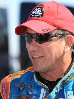 Greg Stanfield enjoying his win during round one of the Kragen O'Reilly Auto Parts NHRA Winternationals