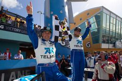 Victory lane: race winners Scott Pruett and Memo Rojas celebrate