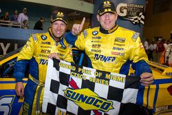 Victory lane: race winners Bill Auberlen and Paul Dalla Lana celebrate