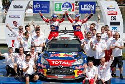Podium : les vainqueurs Sébastien Loeb et Daniel Elena, Citroën DS3 WRC, Citroën Total World Rally Team