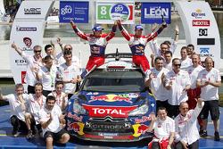 Podio: ganadores Sébastien Loeb and Daniel Elena, Citroën DS3 WRC, Citroën Total World Rally Team
