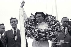 Podium: race winner Jim Clark with Keith Duckworth to his right
