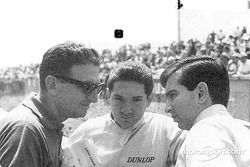 Pedro and Ricardo Rodríguez at Le Mans confering with Eugenio Dragoni, Ferrari's team manager. Pedro