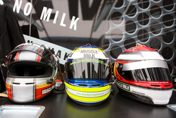 Helmets of Greg Pickett, Klaus Graf and Lucas Luhr