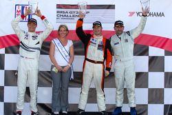 GT3P podium: winnaar klasse en algemeen Henrique Cisneros, 2de Cooper MacNeil, 3de Fernando Pena