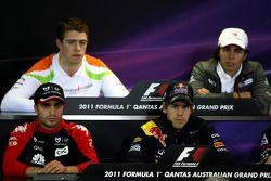 Jérôme d'Ambrosio, Virgin Racing and Sebastian Vettel, Red Bull Racing