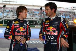 poleman Sebastian Vettel, Red Bull Racing, 2e Mark Webber, Red Bull Racing