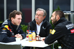 Christian Horner, Red Bull Racing, Sporting Director with Jean-Francois Caubet, Renault Head of Communications