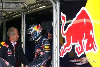 Helmut Marko, Red Bull Racing, Red Bull Advisor and Sebastian Vettel, Red Bull Racing