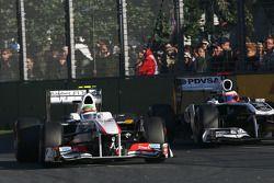 Sergio Perez, Sauber F1 Team ve Rubens Barrichello, Williams F1 Team