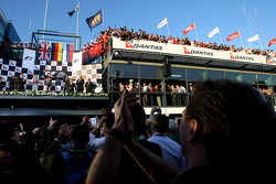 Podium: Christian Horner, Red Bull Racing, Sporting Director and Sebastian Vettel, Red Bull Racing