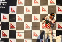 Podium: Lewis Hamilton, McLaren Mercedes