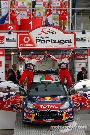 Podium : les vainqueurs Sébastien Ogier et Julien Ingrassia, Citroen DS3 WRC, Citroen Total World Rally Team