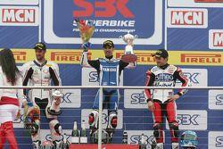 Jakub Smrz, Marco Melandri, Carlos Checa on the podium