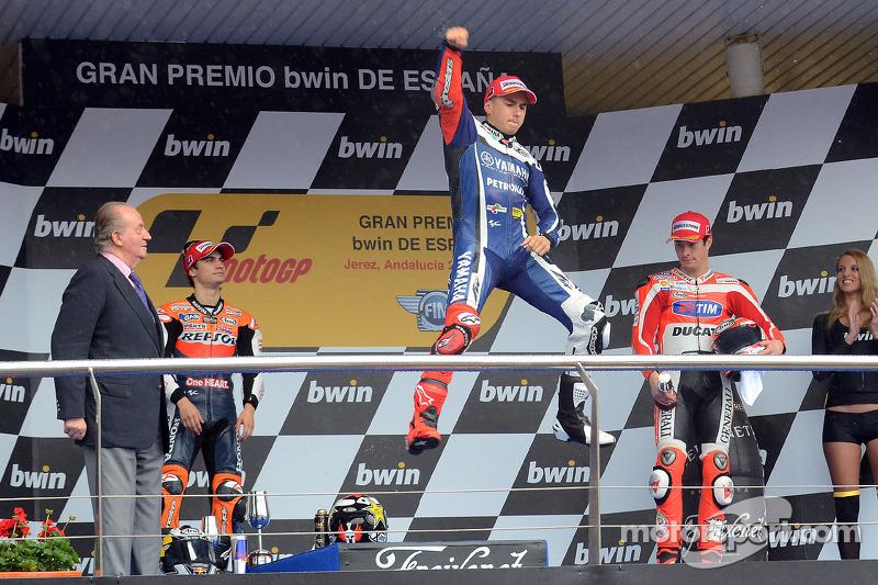 Podio: 1º Jorge Lorenzo, 2º Dani Pedrosa, 3º Nicky Hayden