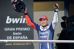 Podium: race winner Jorge Lorenzo, Yamaha Factory Racing, celebrates