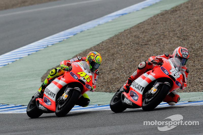 Jerez 2011: Derde plaats na crash Rossi en Stoner