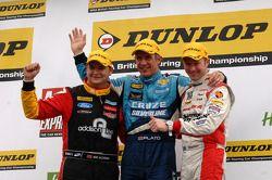 Round 2 podium: 1st Jason Plato, 2nd Gordon Shedden, 3rd Mat Jackson