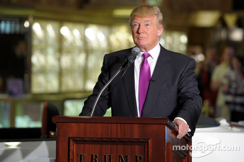 Donald Trump checks out his new ride as the 2011 Indianapolis 500 Chevrolet Camaro SS Convertible Pa