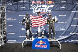 Podium: race winner Scott Speed, Volkswagen, second place Patrik Sandell, Ford, third place Tanner Foust, Volkswagen