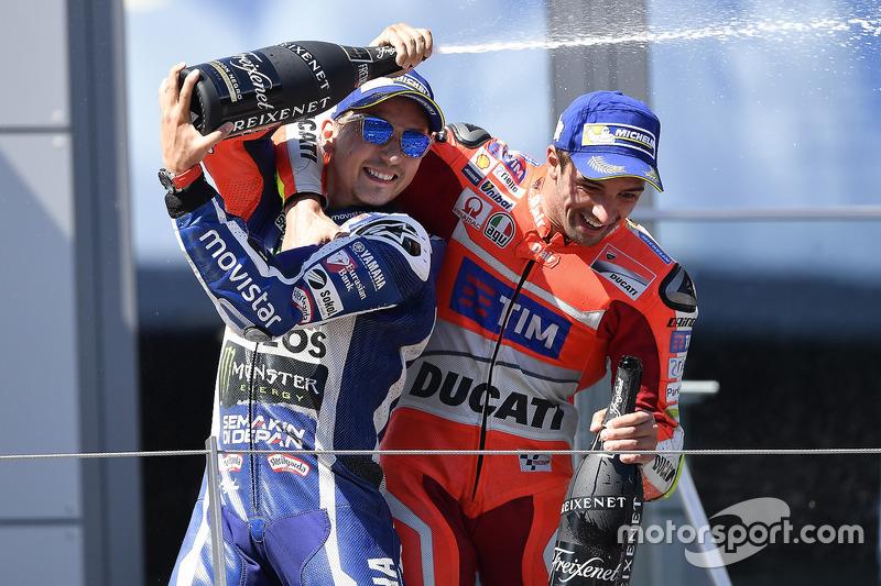 Third place Jorge Lorenzo, Yamaha Factory Racing, race winner Andrea Iannone, Ducati Team