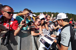 Sergio Perez, Sahara Force India F1 signs autographs for the fans