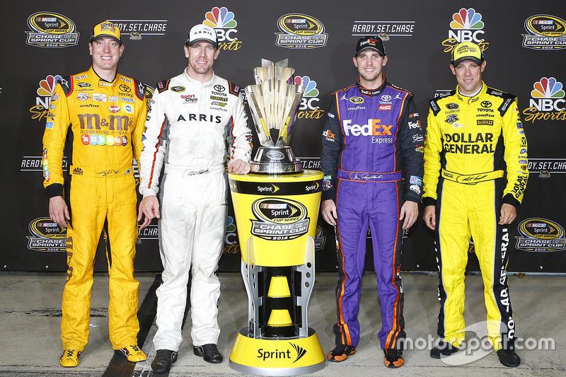 Chase-Teilnehmer 2016 für Joe Gibbs Racing: Kyle Busch, Carl Edwards, Denny Hamlin, Matt Kenseth