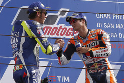 Ganador, Dani Pedrosa, Repsol Honda Team, segundo, Valentino Rossi, Yamaha Factory Racing