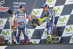 Podium: second place Jorge Lorenzo, Yamaha Factory Racing, third place Valentino Rossi, Yamaha Factory Racing