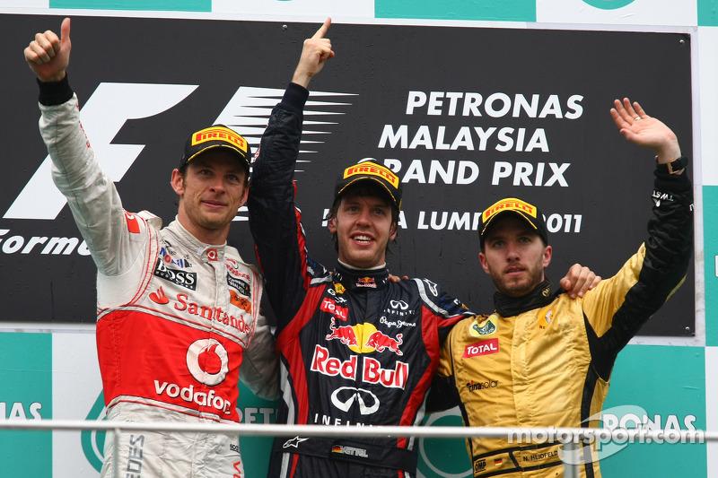 2011: 1. Sebastian Vettel, 2. Jenson Button, 3. Nick Heidfeld