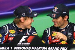Conférence de presse : le poleman Sebastian Vettel, Red Bull Racing, troisième place Mark Webber, Re