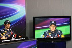 Conférence de presse : le poleman Sebastian Vettel, Red Bull Racing, troisième place Mark Webber, Red Bull Racing