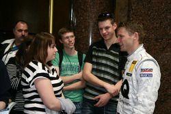Mattias Ekström, Audi Sport Team Abt Audi A4 DTM is talking with fans