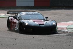 In a very sandy Villeneuve Chicane; #47 DKR Engineering Corvette Z06: Michael Rossi, Jaime Camara
